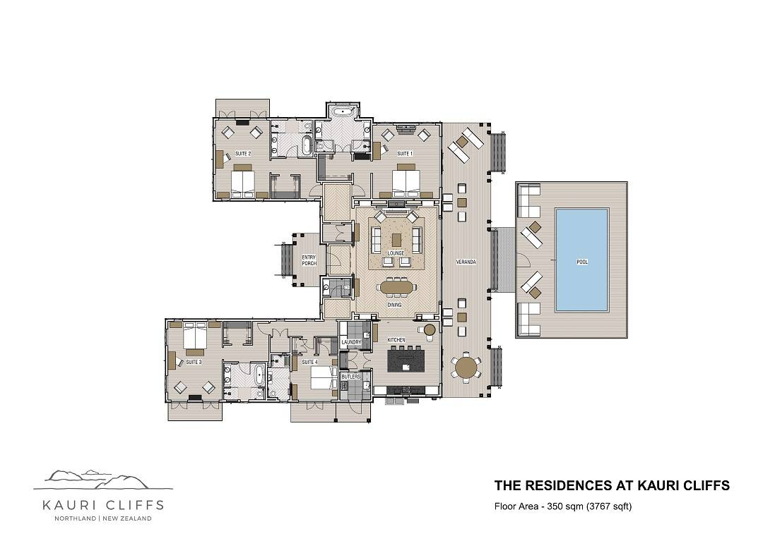 Four-bedroom villa floorplan